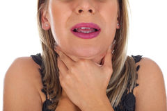 Junges weibliches, Halsschmerzen habend Lizenzfreie Stockfotos