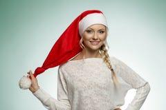 Junges Weihnachtsblondes Mädchen Stockfoto