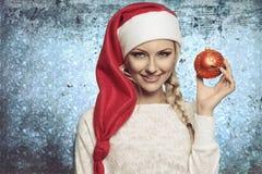 Junges Weihnachtsblondes Mädchen Lizenzfreie Stockbilder