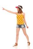 Junges Womanl, das virtuellen Knopf oder das Zeigen drückt Stockbild
