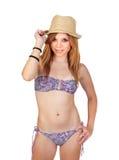 Junges zufälliges Mädchen mit Bikini Stockfoto