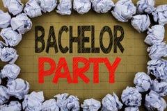 Jungesellen-Party Geschäftskonzept für Hirsch-Spaß Celebrate geschrieben auf Weinlesehintergrund mit Kopienraum auf altem Hinterg Lizenzfreies Stockbild