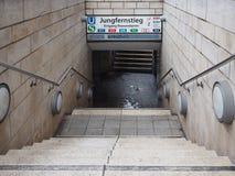 Jungfernstieg subway station in Hamburg. HAMBURG, GERMANY - CIRCA MAY 2017: Jungfernstieg underground station entrance Royalty Free Stock Photos