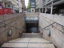 Jungfernstieg subway station in Hamburg. HAMBURG, GERMANY - CIRCA MAY 2017: Jungfernstieg underground station entrance Royalty Free Stock Photo