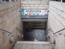 Jungfernstieg subway station in Hamburg. HAMBURG, GERMANY - CIRCA MAY 2017: Jungfernstieg underground station entrance Royalty Free Stock Image