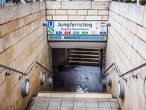 Jungfernstieg subway station in Hamburg hdr. HAMBURG, GERMANY - CIRCA MAY 2017: Jungfernstieg underground station entrance, hdr Stock Photo