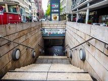 Jungfernstieg subway station in Hamburg hdr. HAMBURG, GERMANY - CIRCA MAY 2017: Jungfernstieg underground station entrance, hdr Royalty Free Stock Image
