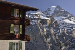 Jungfrau dal ¼ di MÃ rren il villaggio Alpi svizzere Fotografia Stock Libera da Diritti