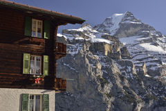 Jungfrau from Mürren village. Swiss Alps Royalty Free Stock Photo