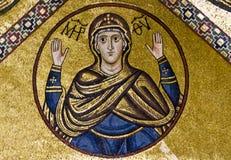 Jungfrau Maria, Mosaik des 11. Jahrhunderts. Stockfotos