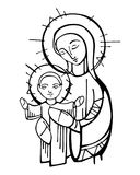 Jungfrau Maria und Baby Jesus Christ-Tintenillustration Stockbild