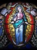Jungfrau-Mary Stained-Glas in der Kirche in Portugal Lizenzfreie Stockbilder