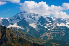 Jungfrau mountain with glacier, switzerland stock images