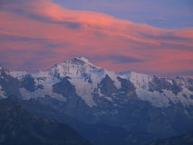 Jungfrau northface. Summit of Jungfrau viewed from North royalty free stock images
