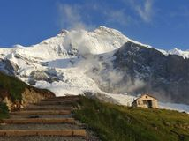 Jungfrau and the old Mittellegi hut - Alpine panorama stock image