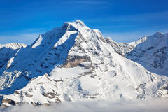 Jungfrau peak, Swiss Alps. View of the Jungfrau peak from the Schilthorn (Piz Gloria), valley of Lauterbrunnen, Bernese Alps, Switzerland, Europe Stock Photo