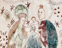 Jungfrau und Kind mit St Anne Stockfotos