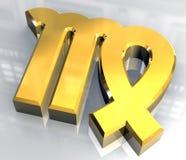 Jungfrauastrologiesymbol im Gold (3d) Stockfoto
