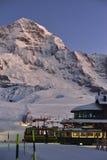 Jungfraubahn and Jungfrau mountain at Kleine Scheidegg, Swiss Alps Stock Images