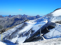 Jungfraujoch,一部分的瑞士阿尔卑斯高山雪山 库存图片