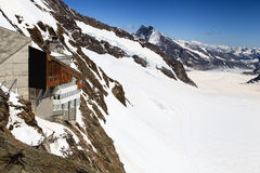 Jungfraujoch,瑞士阿尔卑斯Jungfraujoch火车站 免版税图库摄影