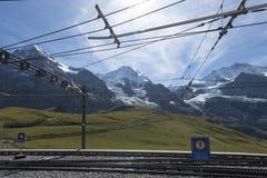 Jungfraujoch järnväg, Schweiz Arkivbilder