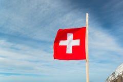 Jungfraujoch, parte da montanha alpina da neve dos cumes suíços Imagens de Stock