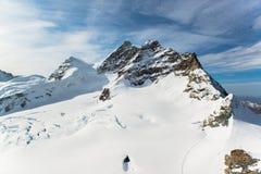 Jungfraujoch, parte della montagna alpina della neve delle alpi svizzere Immagine Stock Libera da Diritti