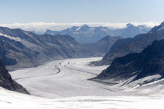 Jungfraujoch plateau, Switzerland. The plateau above the terminus station of the Jungfraujoch, Switzerland with a view to the Aletsch Glacier Stock Images