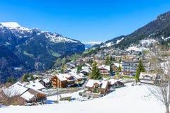 Jungfraujoch, Suisse - 29 avril 2017 : Village célèbre Wenge photo libre de droits