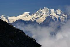 在Jungfraujoch,欧洲Sw上面的高山阿尔卑斯山风景  图库摄影