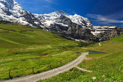 Jungfraujoch. View of Jungfraujoch from Kleine Scheidegg ,Switzerland Stock Image