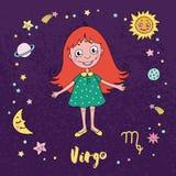 Jungfrausternzeichen auf Hintergrund des nächtlichen Himmels mit Sternen Stockfotos