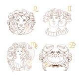 Jungfru för översiktszodiaktecken, Lejonet, Tvillingarna, cancer också vektor för coreldrawillustration vektor illustrationer