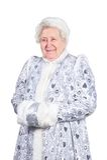 jungfru- gammal snow för lady royaltyfri foto