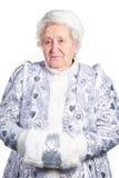 jungfru- gammal snow för lady royaltyfri bild