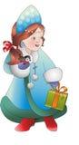 jungfru- snow Med gåvan och fågeln Unga Jultomte hjälpreda nytt år Royaltyfri Bild