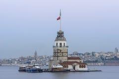 Jungfru- torn eller Kiz Kulesi Istanbul arkivfoto
