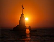 Jungfru- torn under solnedgång Arkivfoto