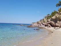 Jungfrulig strand Grekland Arkivfoton