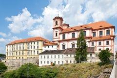 Jungfruliga Mary kyrka, Litomerice, Bohemia, Tjeckien Royaltyfria Foton