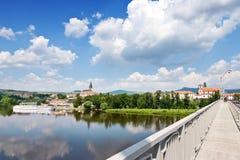 Jungfruliga Mary kyrka, Litomerice, Bohemia, Tjeckien arkivfoton