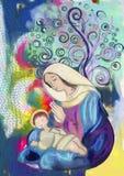 Jungfruliga Mary och barn Jesus för Adobekorrigeringar hög för målning för photoshop för kvalitet för bildläsning vattenfärg myck Fotografering för Bildbyråer