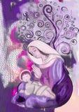 Jungfruliga Mary och barn Jesus Samtida konst Arkivbilder