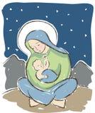 Jungfruliga Mary och behandla som ett barn den Jesus illustrationen Arkivfoton