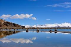Jungfruliga sjöglaciärer för XIZANG med vattenreflexion fotografering för bildbyråer