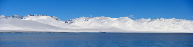 Jungfruliga sjöglaciärer för XIZANG med vattenreflexion Arkivfoton