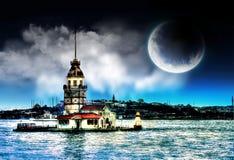 Jungfrus torn i istanbul Turkiet royaltyfri bild