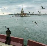 Jungfrutorn i Istanbul Arkivbilder