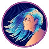 Jungfruzodiaktecken, kvinna med blått hår, vektor stock illustrationer